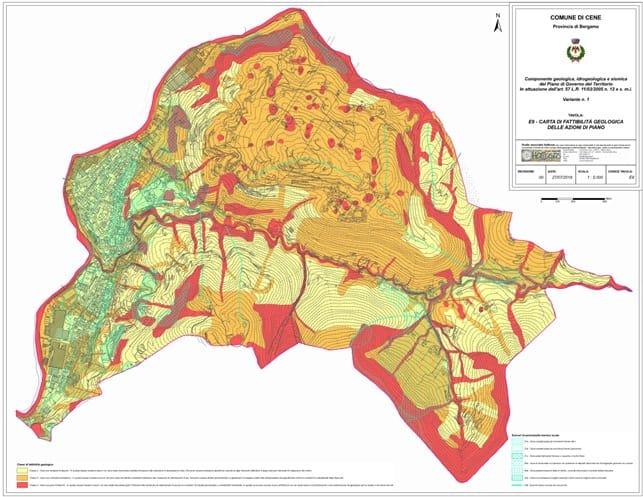 Componente geologica della variante 1 al PGT di Cene – carta della fattibilità geologica per le azioni di piano