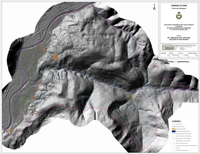 Componente geologica della variante 1 al PGT di Cene – elaborazione delle aree vulnerabili dal punto di vista idraulico