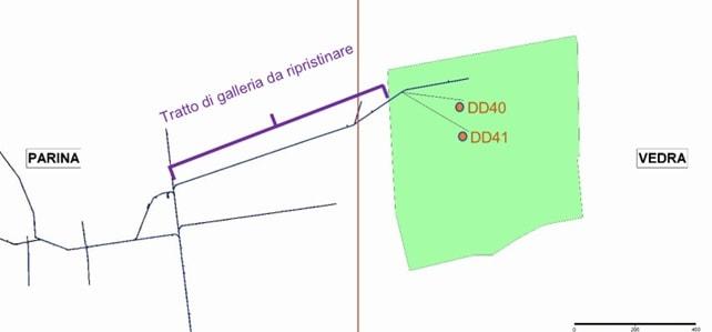 Permesso di ricerca Vedra – planimetria dei lavori in programma